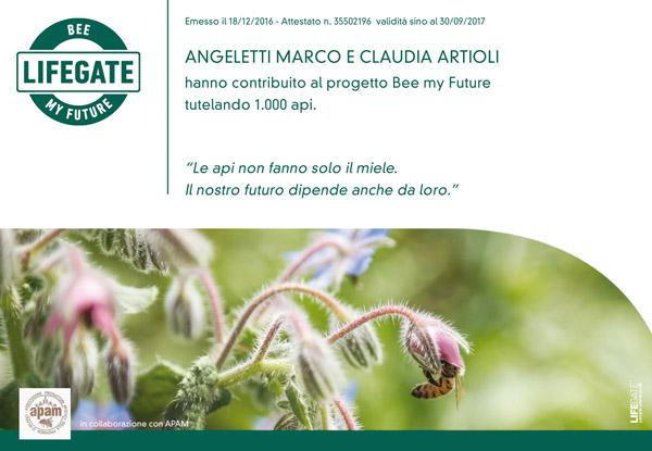 il certificato di partecipazione al progetto bee my future di lifegate e apam