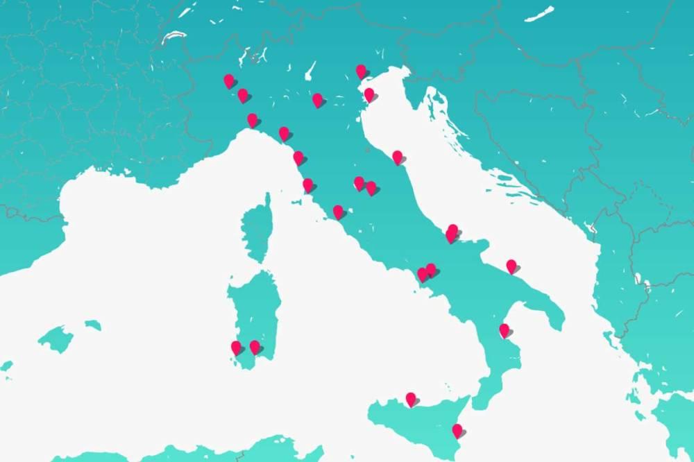 la mappa indica dove sono dislocate le centrali che rientrano nel programma di riconversione futur-e di enel