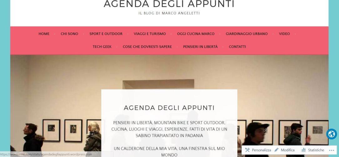 nuova home page nuovo tema wordpress gratuito agenda degli appunti blog marco angeletti