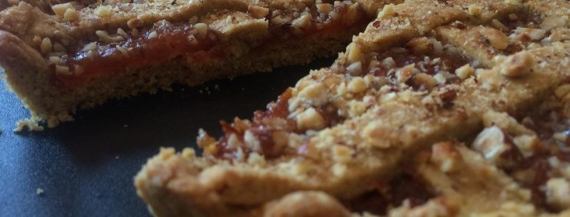 pasta frolla crostata marmellata pesche bio granella nocciole bio