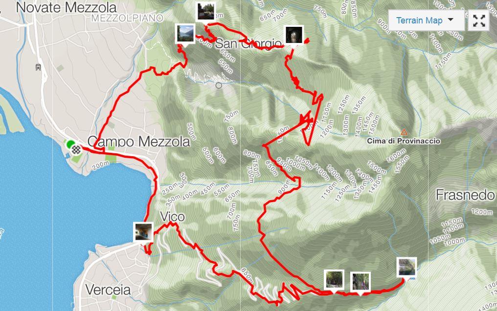 traccia anello del tracciolino percorso trekking mountain bike tra novate mezzola verceia la diga della valle dei ratti e della val codera passando da san giorgio