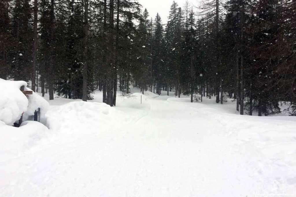 sentiero cascata pisciadu corvara val badia neve