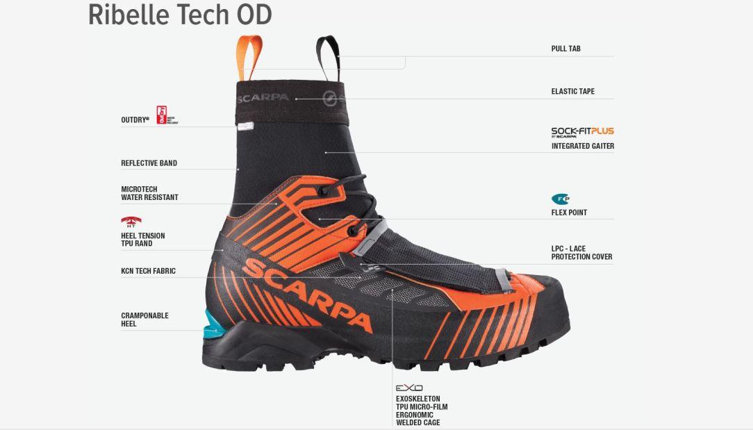 scarpa ribelle tech od pedula alpinismo scarpone montagna