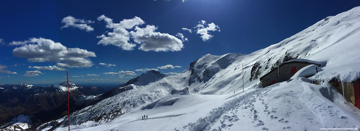 bivacco riva gerani comolli ascesa invernale rifugio brioschi neve