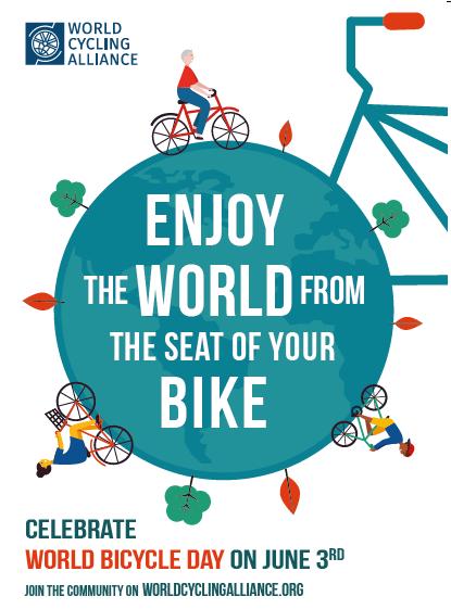 manifesto pubblicitario della giornata mondiale della bicicletta