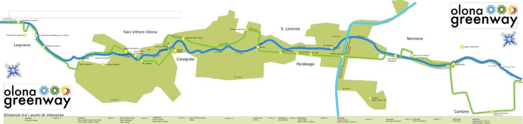 in foto la mappa del percorso ciclabile pedonale olona green way
