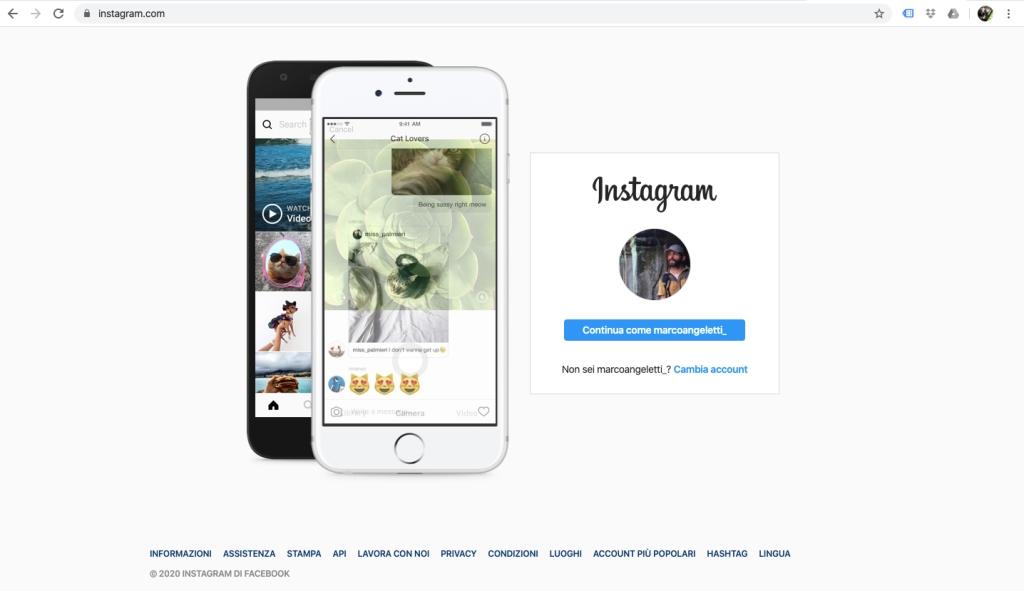 pagina di accesso instagram browser computer