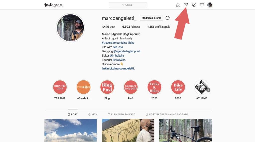 schermata profilo Instagram browser del computer