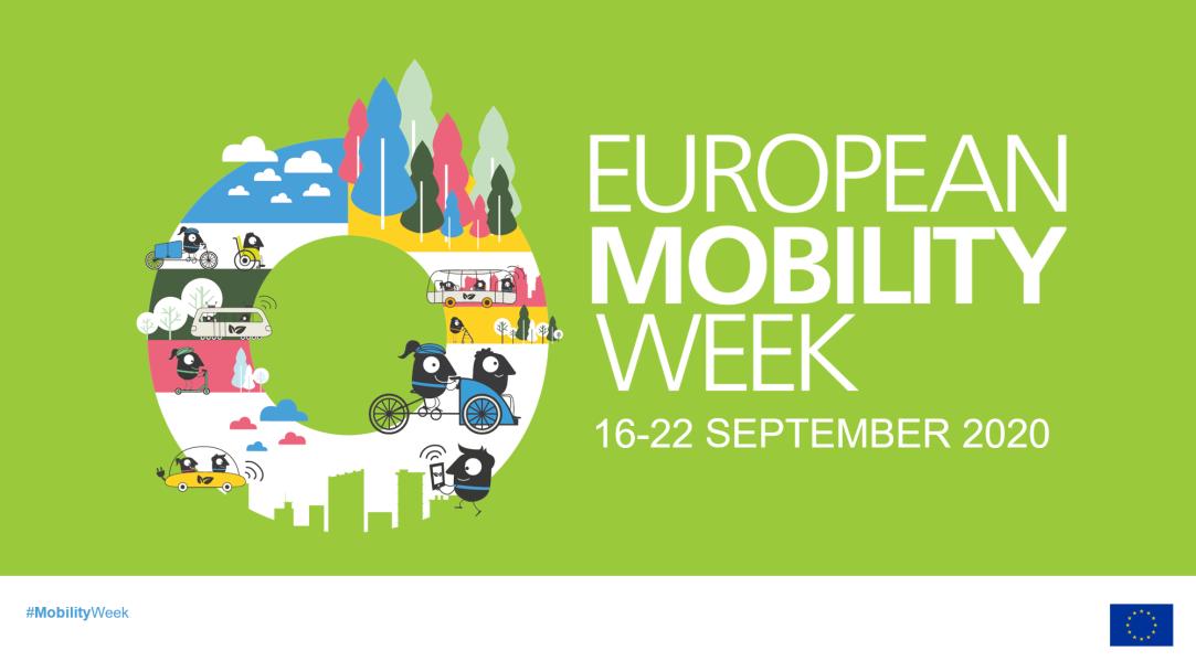 illustrazione con scritte della settimana europea della mobilità