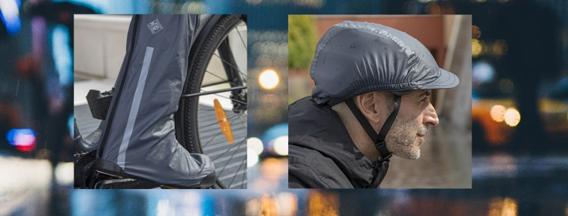 un ambiente urbano sotto la pioggia e degli accessori impermeabili per bicicletta