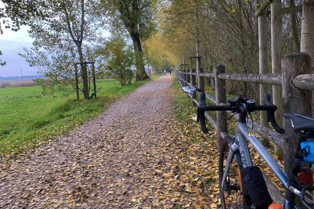 una bicicletta su una strada sterrata nel parco delle Groane