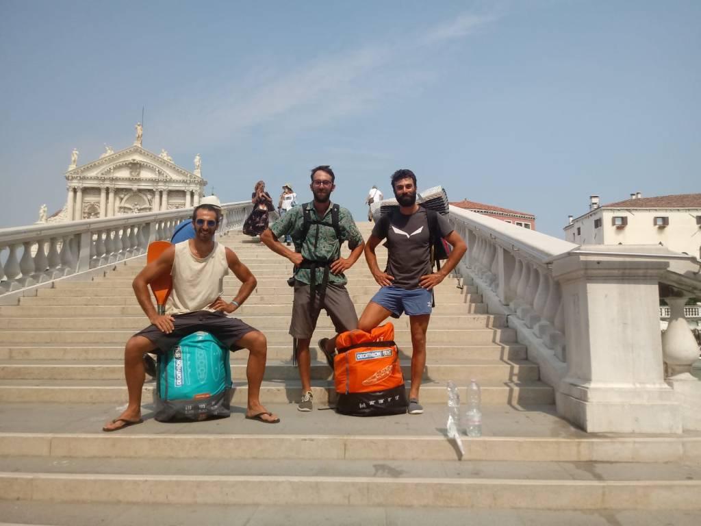 Sul ponte di Rialto a Venezia con Gandi ed Enea