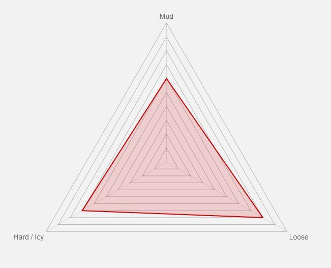 un grafico che illustra su quale terreno uno pneumatico è più indicato