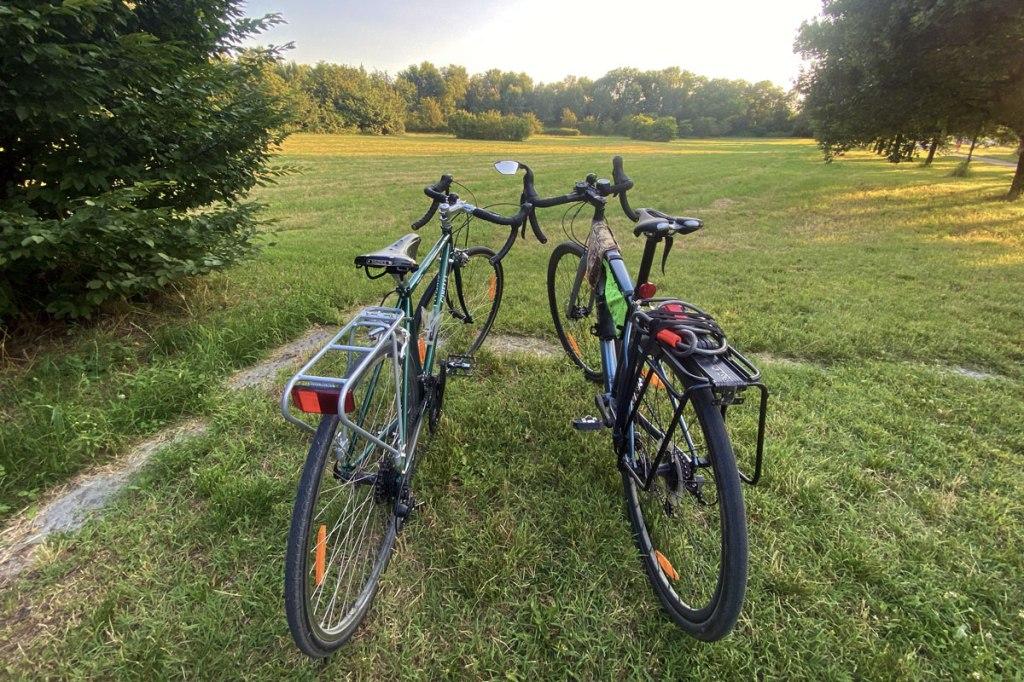due biciclette fotografate al tramonto a ridosso di un prato verde