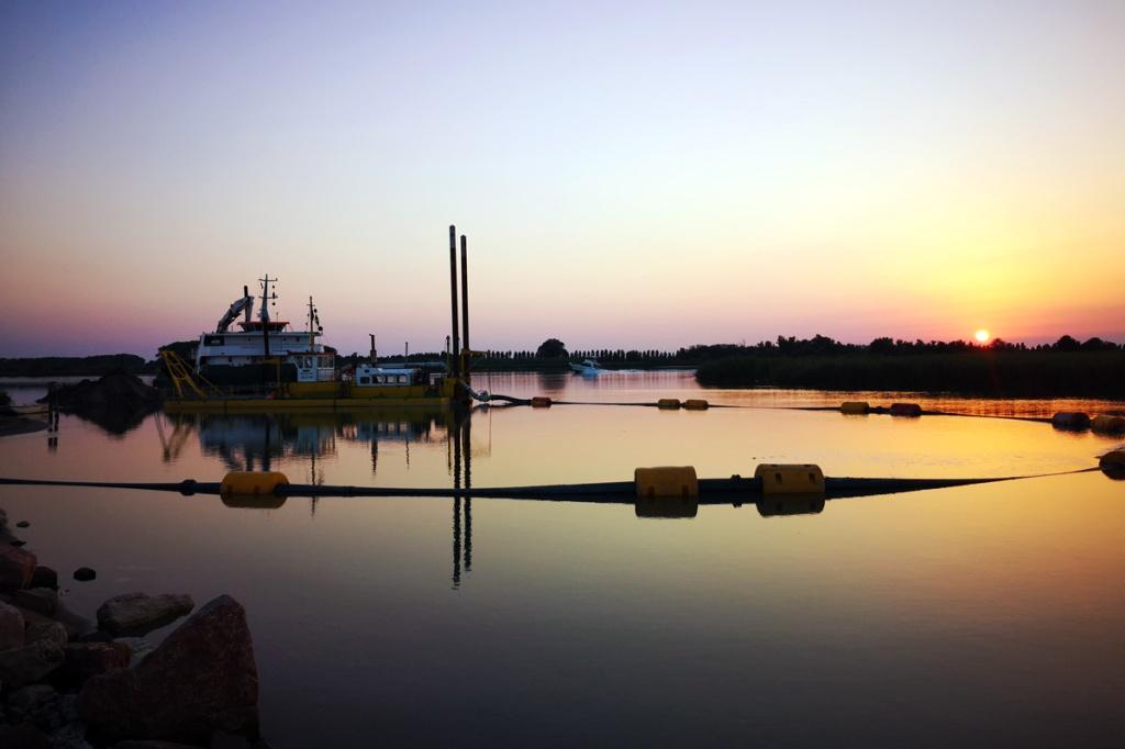 Tramonto sul porto di Porto Tolle