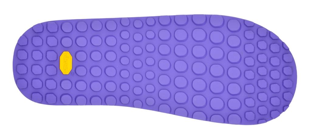 suola specifica per calzature mountain bike di colore viola e logo Vibram giallo